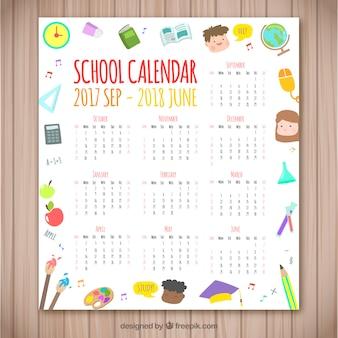 Школьный календарь с различными элементами