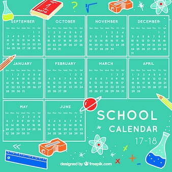 Calendario scolastico con elementi della scienza