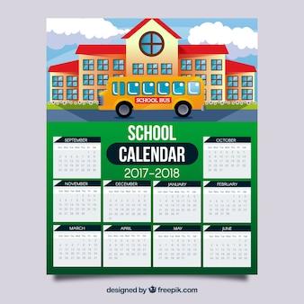 Calendario scolastico con facciata di scuola