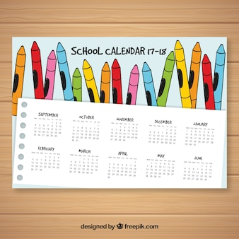 School calendar with hand drawn crayons