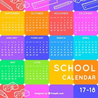 Школьный календарь со многими цветами