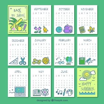 モダンスタイルの学校カレンダー