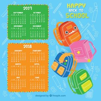 Calendario scolastico con set di zaini