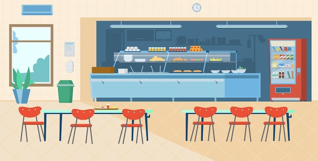 Интерьер школьной столовой. плоский рисунок.