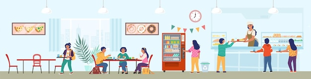 スタッフと子供たちが昼食をとっている学校の食堂、平らなイラスト。学校の食堂、ビュッフェ、カフェ。
