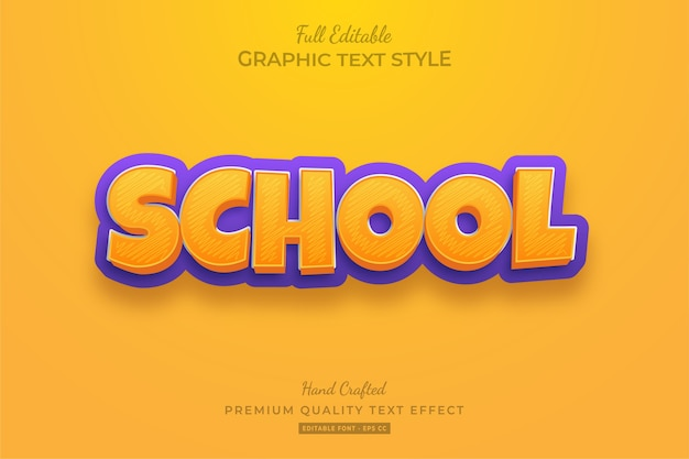 School cartoon editable text style effect