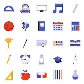 School cartoon icons vector