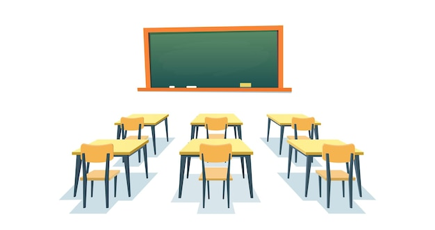 School chalkboard and desks. empty blackboard, elementary classroom wooden desk table and chair education board furniture isolated on white background. vector illustration in a flat style