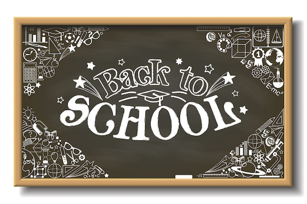 School chalkboard with back to school text and whit different educational elements
