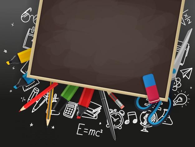 School chalkboard with different education stuff