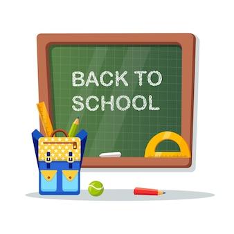 Школьная доска с разными вещами, рюкзак, линейка. добро пожаловать обратно в школу