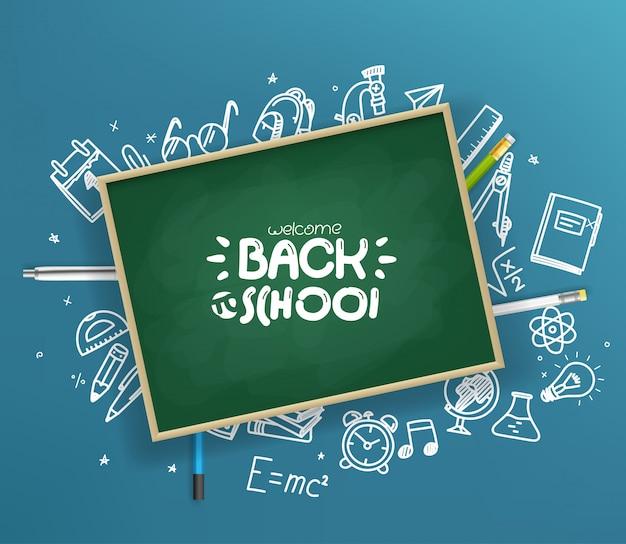 School chalkboard with different stuff.