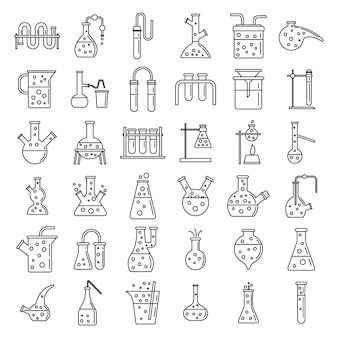 School chemical laboratory experiment icons set