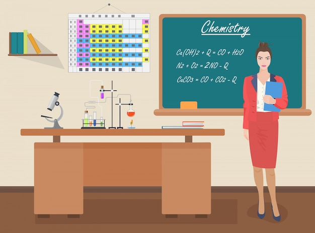 School chemistry female teacher