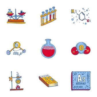 학교 화학 아이콘 세트입니다. 9 학교 화학 아이콘의 손으로 그린 세트
