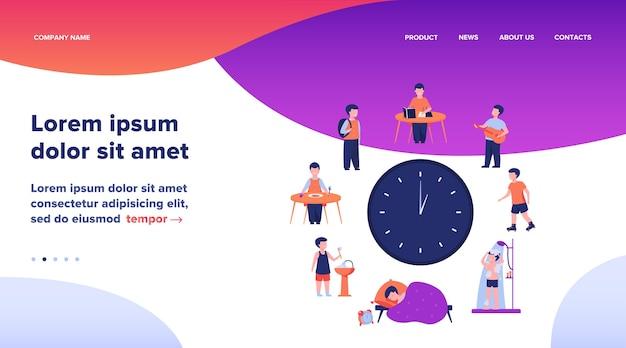 Расписание школьников. часы с детьми, спать, есть, учиться, отдыхать, принимать душ плоский векторные иллюстрации. ежедневная рутинная концепция веб-дизайна или целевой веб-страницы