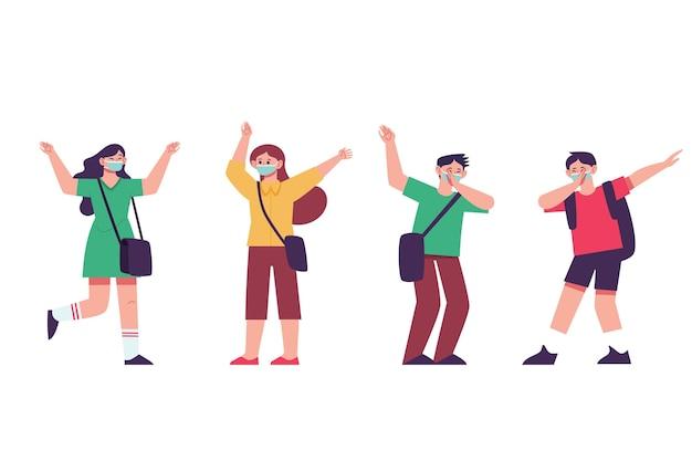 新常態で挨拶する小学生
