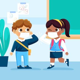 새로운 노멀에서 인사하는 학교 아이들