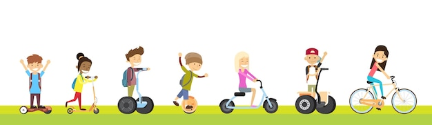 School children group ride segway motor scooter bicycle