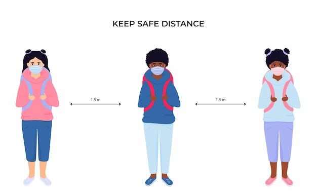 보호용 안면 마스크를 쓴 학교 아이들. 사회적 거리를 유지하십시오. 코로나 바이러스 전염병 coivd-19 동안 예방 조치
