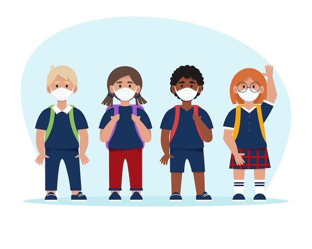 유니폼과 마스크의 학교 아이들. 유행성 시간에 학교 개념으로 돌아 가기. 플랫 스타일의 그림, 흰색 배경에 고립
