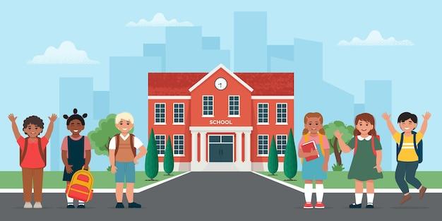 校舎の近くの学童学校に戻るフラットスタイルのベクトル図