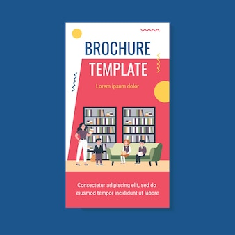 School children reading books in library brochure template