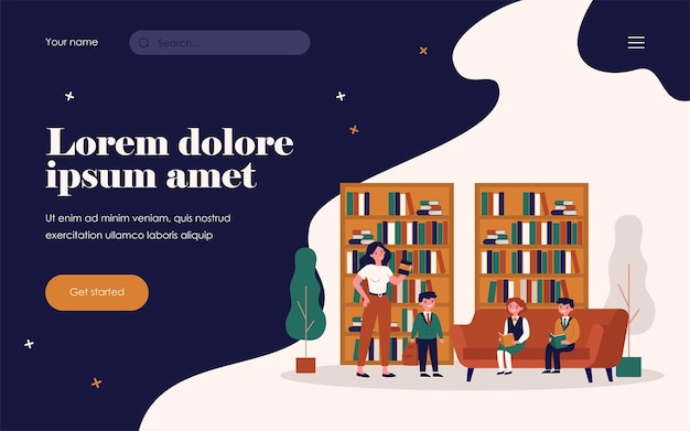 School children reading books in library. female librarian, bookshelves, pupils flat vector illustration. education, literature, knowledge concept for banner, website design or landing web page