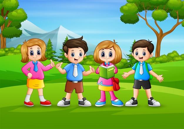 The school children standing in nature