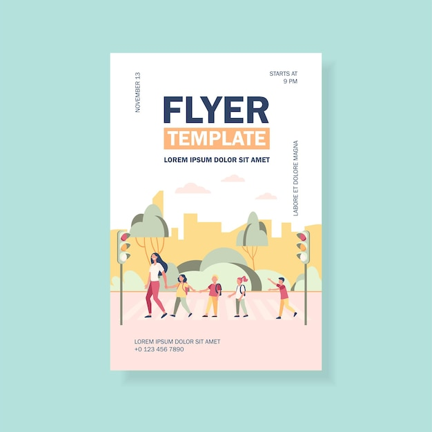 School children and teacher crossing street flyer template