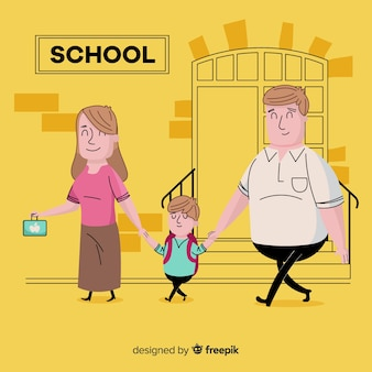 School children with parents background