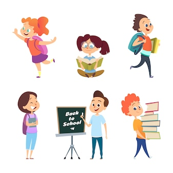 School childrens. back to school characters isolated