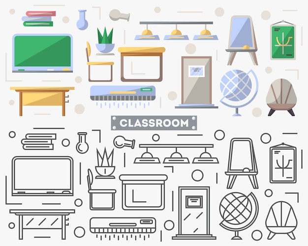 School classroom furniture set in flat style