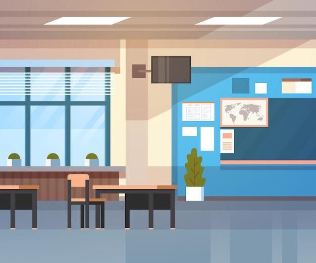 School classroom interior board desk