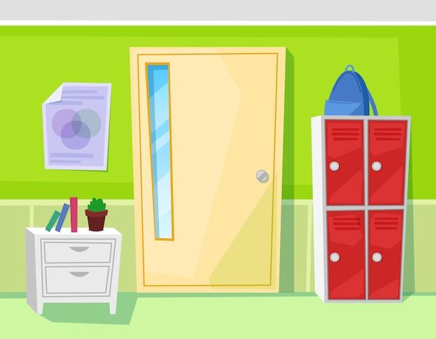 School classroom interior door and lockers