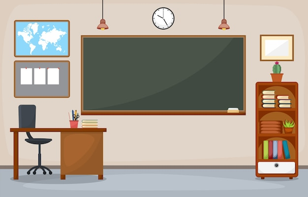 School classroom interior room blackboard furniture flat