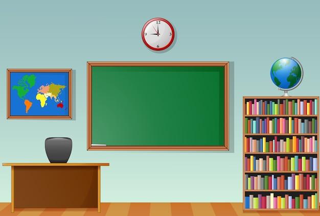 School classroom interior with chalkboard and teacher desk