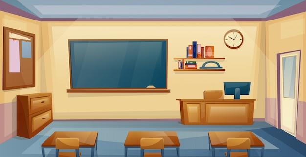 책상과 보드와 함께 학교 교실 인테리어입니다.