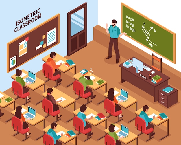 School classroom lesson isometric poster