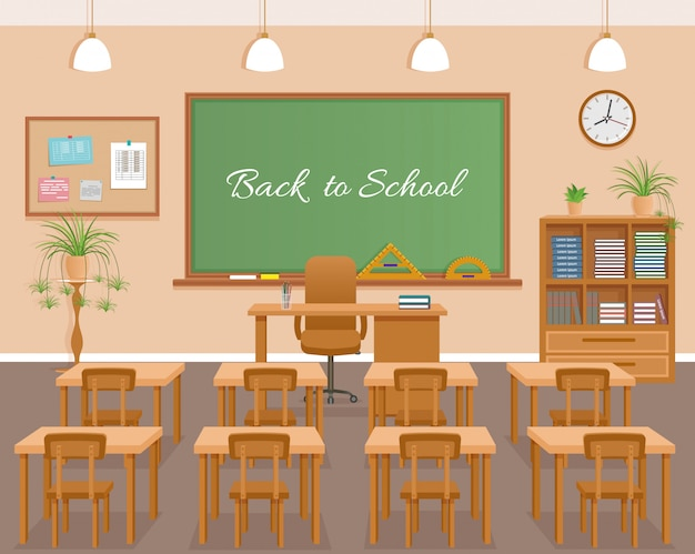 School classroom with chalkboard, student desks and teacher's desk. school class room interior design with text on chalkboard.