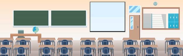 School classroom with furniture board desk empty no people class room interior  horizontal