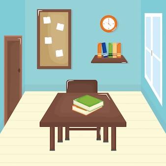 Aula scolastica con scena di schooldesk Vettore gratuito