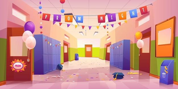 Sala della scuola o del college dopo la celebrazione della notte del ballo
