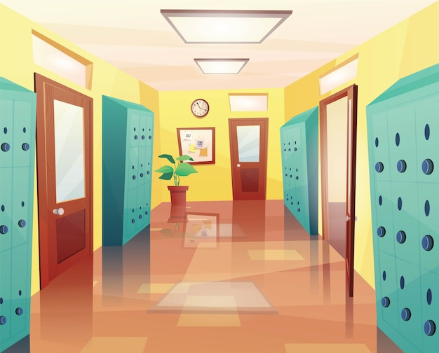 Школа, холл колледжа с открытыми и закрытыми дверями, шкафчики для хранения вещей, доска объявлений.