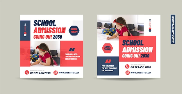 School college university  admission and back to school social media post design
