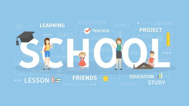 学校の概念図。教育、研究、知識のアイデア。