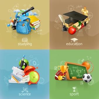 Школьные концепции, векторный набор