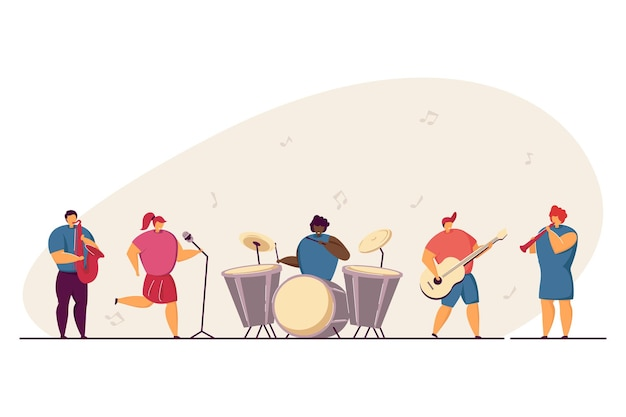 学校のコンサートのイラスト。楽器を演奏する10代のミュージシャンの多様なバンド、ステージで歌う子供たち。タレントショー、音楽祭、スクールパーティーのコンセプトに
