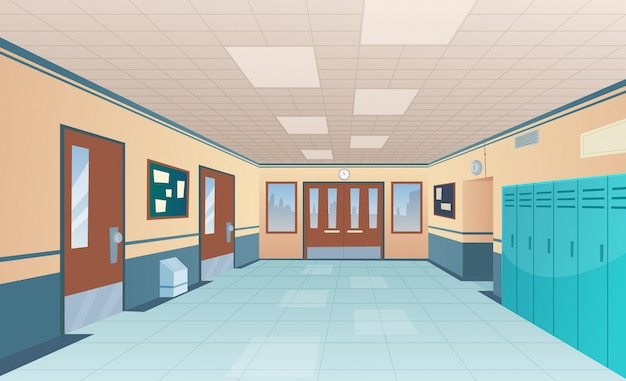 School corridor. bright college interior of big hallway with doors classroom with desks without kids  cartoon picture