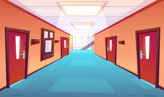 School corridor, hallway of college or university
